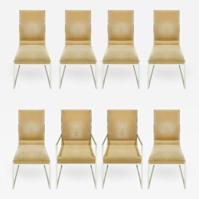 Milo Baughman Milo Baughman Set of 8 High Back Crome Dining Chairs 1970s