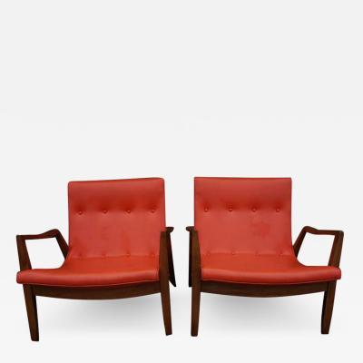 Milo Baughman Milo Baughman Signed Pair Scoop Lounge Chairs James Inc