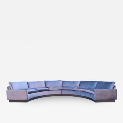 Milo Baughman Milo Baughman Style Circular Sofa in Gray Velvet
