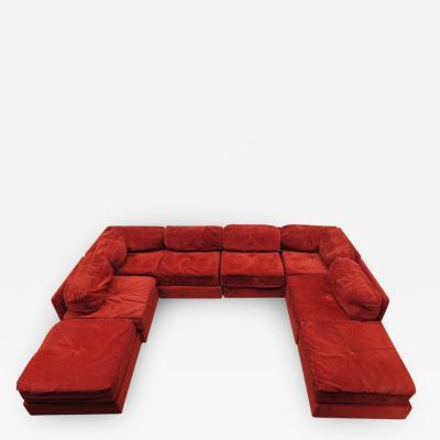 Milo Baughman Milo Baughman Style Eight Piece Sectional Sofa Ottoman Mid Century Modern