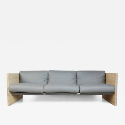 Milo Baughman Milo Baughman Style Grey Leather and Oak Sling Sofa circa 1970