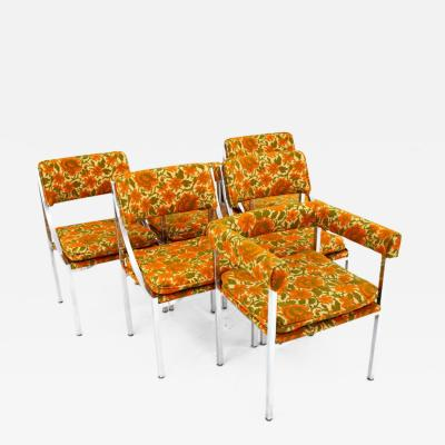 Milo Baughman Milo Baughman Style Mid Century Chrome Dining Chairs Set of 6