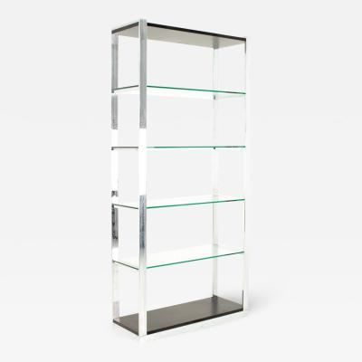 Milo Baughman Milo Baughman Style Mid Century Chrome and Glass Shelf