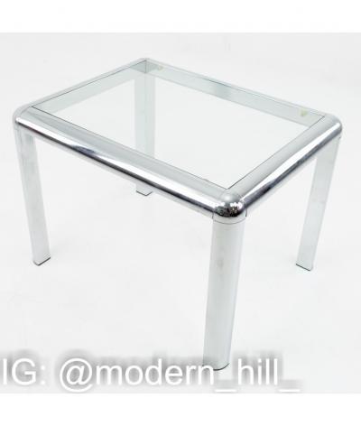Milo Baughman Milo Baughman Style Mid Century Chrome and Glass Table