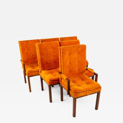 Milo Baughman Milo Baughman Style Mid Century Orange Upholstered Walnut Dining Chairs