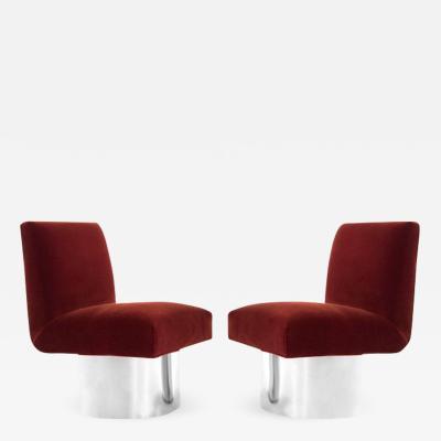 Milo Baughman Milo Baughman Swivel Chairs on Drum Nickel Bases