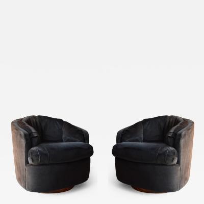 Milo Baughman Milo Baughman Swivel Club Chairs