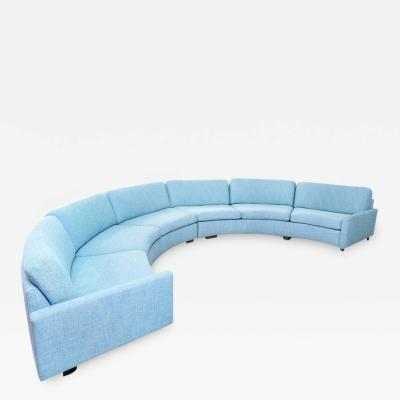 Milo Baughman Milo Baughman Turquoise Aqua Semi Circular Sectional Sofa for Thayer Coggin