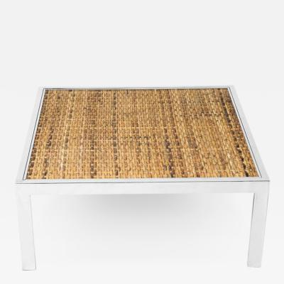 Milo Baughman Milo Baughman Woven Bamboo and Chrome Cocktail Table with Glass Top