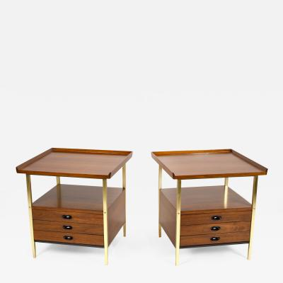 Milo Baughman Milo Baughman for Arch Gordon Walnut and Solid Brass Nightstands