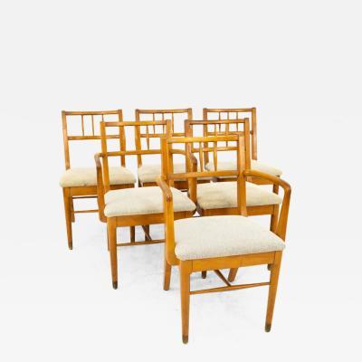 Milo Baughman Milo Baughman for Drexel Mid Century Blonde Dining Chairs Set of 6