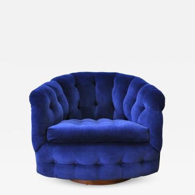 Milo Baughman Milo Baughman for Thayer Coggin Blue Velvet Swivel Lounge Chair