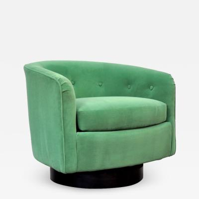 Milo Baughman Milo Baughman for Thayer Coggin Emerald Green Velvet Swivel Lounge Chair
