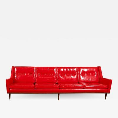 Milo Baughman Milo Baughman for Thayer Coggin Red Vinyl Sofa