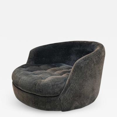 Milo Baughman Milo Baughman for Thayer Coggin Satellite Swivel Chair in Black Chenille