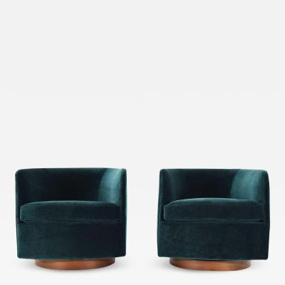 Milo Baughman Milo Baughman for Thayer Coggin Tilt Swivel Lounge Chairs in Deep Blue Velvet