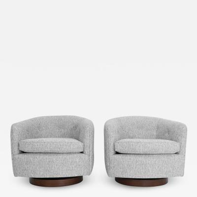 Milo Baughman Milo Baughman for Thayer Coggin Tilt and Swivel Chairs in Soft Gray