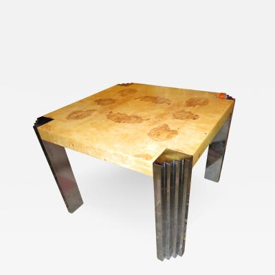 Milo Baughman Milo Baughman style Excellent Burled Olivewood Chrome Leg Game Dining Table