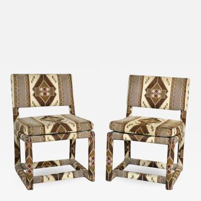 Milo Baughman Milo baughman for thayer coggin tribal print upholstered parsons chairs a pair