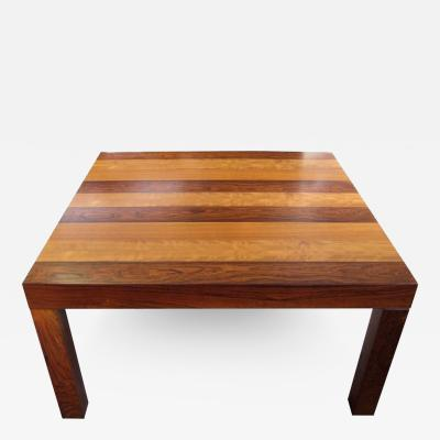 Milo Baughman Modern Parsons Square Coffee Table in Strips of Wood Attributed to Milo Baughman