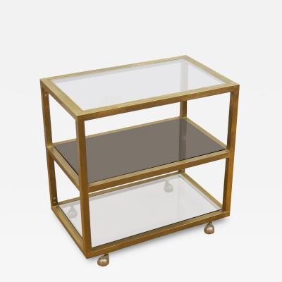 Milo Baughman Modernist Brass and Three Tier Smoked Glass Bar Cart