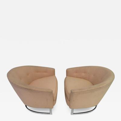 Milo Baughman Nice Pair of Milo Baughman Style Chrome Base Barrel Back Chairs