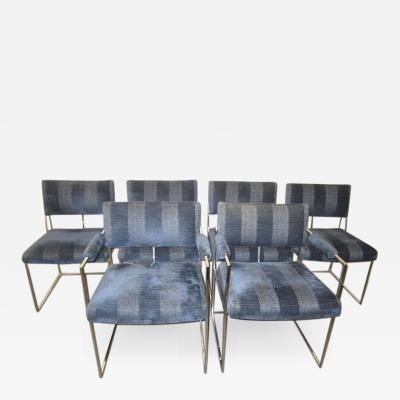 Milo Baughman Outstanding Set of Six Milo Baughman Chrome Dining Chairs Mid Century Modern
