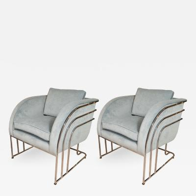 Milo Baughman PAIR OF CHROME ARCHED FRAME ARMCHAIRS