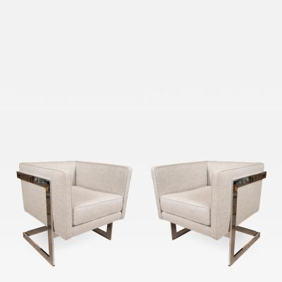 Milo Baughman PAIR OF CUBIC FRAME CHAIRS