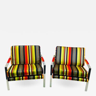 Milo Baughman PAIR OF MILO BAUGHMAN CHAIRS IN HIGH END STRPIED FABRIC