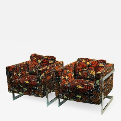 Milo Baughman PAIR OF MILO BAUGHMAN CHAIRS WITH JACK LENOR LARSEN MONARCH BUTTERFLY FABRIC