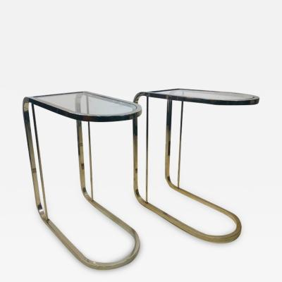Milo Baughman PAIR OF MILO BAUGHMAN GLASS AND CHROME SIDE TABLES