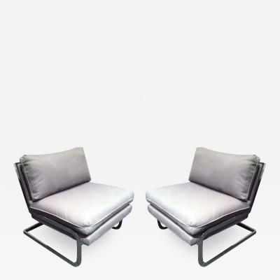 Milo Baughman Pair Mid Century Milo Baughman style S shaped Cantilever Club Chairs