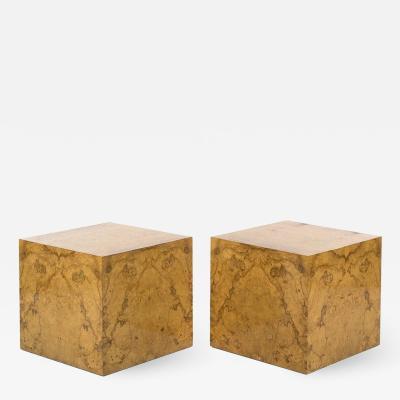 Milo Baughman Pair Milo Baughman Burl Wood Cube Side Tables