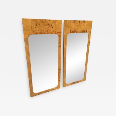 Milo Baughman Pair Milo Baughman Style Burl Wood Mirrors
