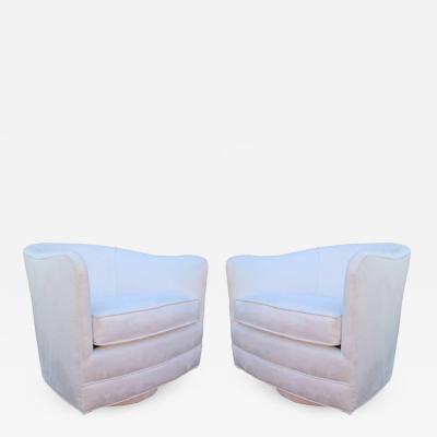 Milo Baughman Pair Milo Baughman Style Swivel Lounge Chairs