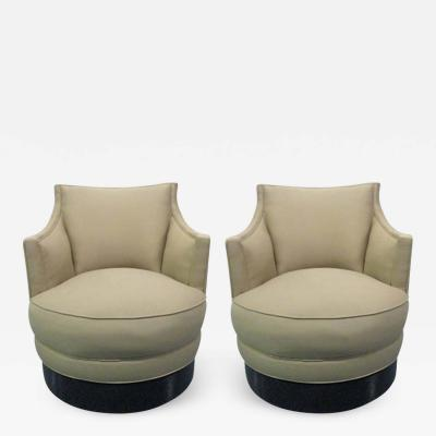 Milo Baughman Pair Upholstered Swivel Chairs style of Milo Baughman