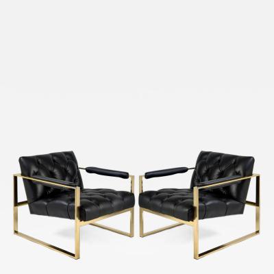 Milo Baughman Pair of 1970s Flat Bar Milo Baughman Chairs