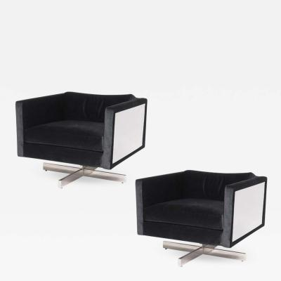 Milo Baughman Pair of 1970s Mid Century Modern Lounge Chairs in the Style of Milo Baughman