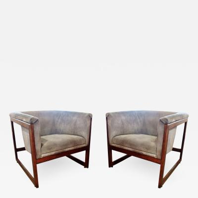 Milo Baughman Pair of American Modern Walnut and Upholstered Armchairs