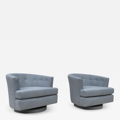 Milo Baughman Pair of Baughman Style Vintage Barrel Shaped Swivel Chairs