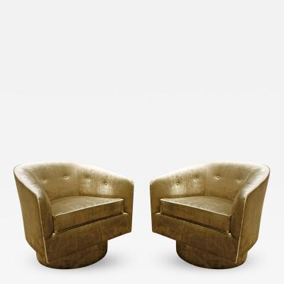 Milo Baughman Pair of Chick Swiveling Barrel Back Lounge Chairs in Bronze Velvet 1960s