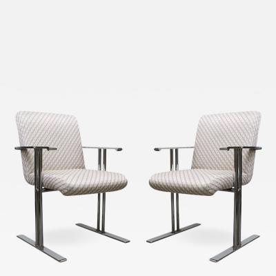 Milo Baughman Pair of Chrome Armchairs by Directional