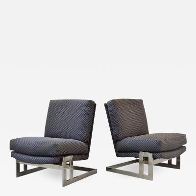 Milo Baughman Pair of Chrome Framed Milo Baughman Lounge Chairs