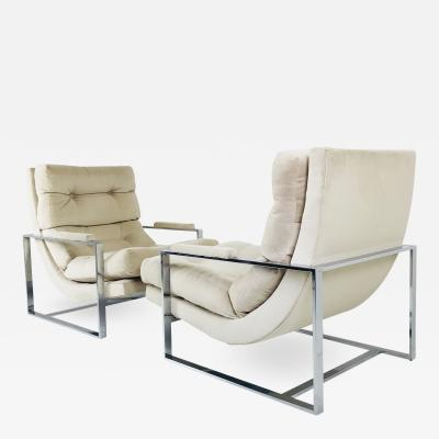 Milo Baughman Pair of Chrome Lounge Chairs in the Style of Milo Baughman