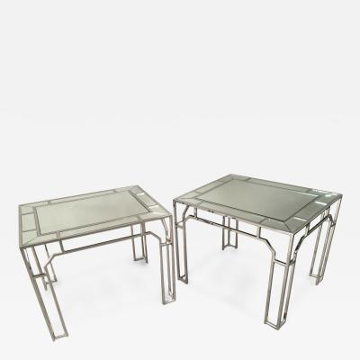 Milo Baughman Pair of Chrome and Mirrored Tables by Milo Baughman