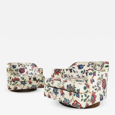 Milo Baughman Pair of Floral Swivel Chairs in the Style of Milo Baughman