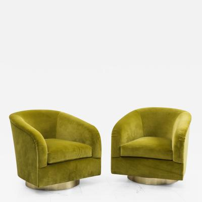 Milo Baughman Pair of Green Swivel Chairs