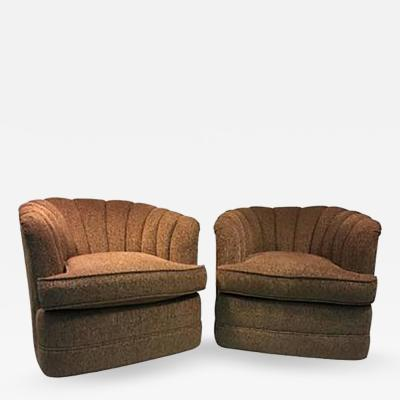 Milo Baughman Pair of Luscious Fan Back Swivel Chairs by Milo Baughman