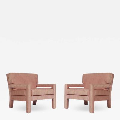 Milo Baughman Pair of Mid Century Modern Parsons Lounge or Club Chairs after Milo Baughman